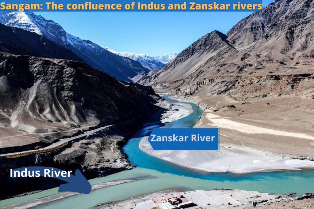 Confluence of Zanskar and Indus river in Ladakh