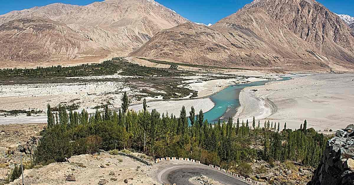Shyok river in Ladakh
