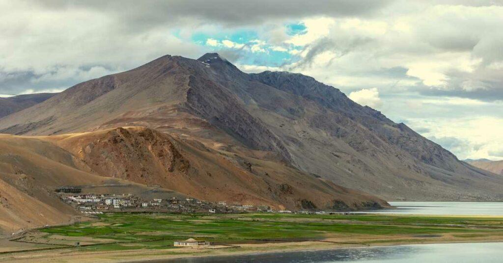 View of Karzok village from Tso Moriri lake bank