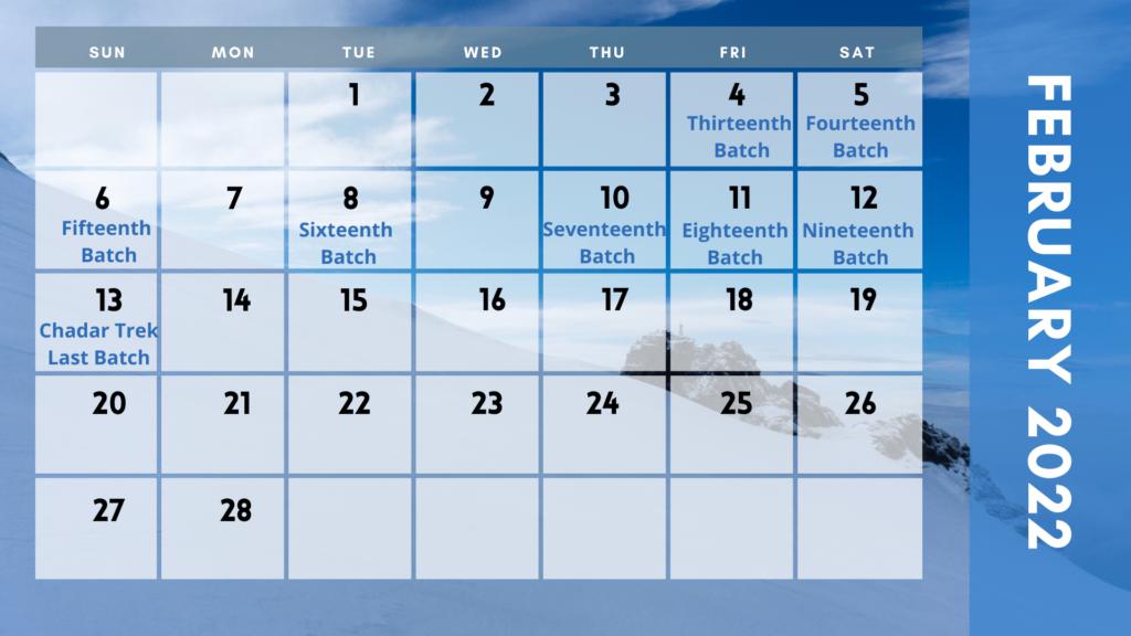 Chadar trek 2022 dates in february